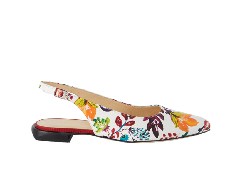 Sling-back with a floral pattern