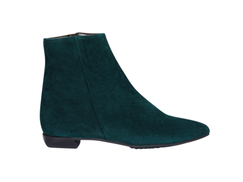 Pointy short boot in green