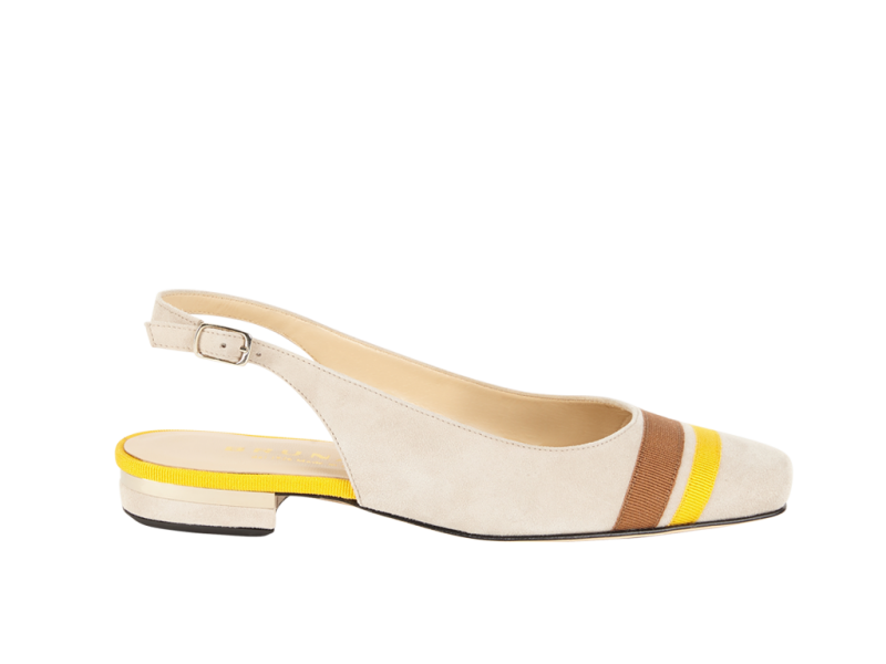 Sling-back pump with gros strips